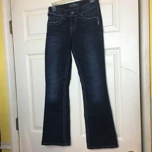 Silver Jeans Suki Surplus Dark Wash Flap Pocket